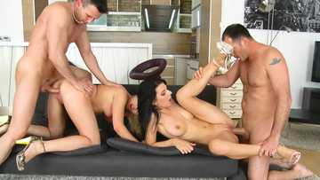 Horny students Diana Dali and Bessi have passionate foursome studying