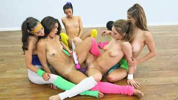 Dillion Carter, Alaina Kristar, Gia Paige, Gabriella Ford and Jojo Kiss practice lesbian love in the gym