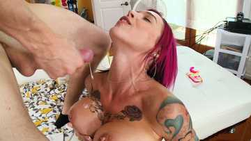 Hardcore pussy fucking of a big tits redhead Anna Bell Peaks with a cumshot at the finish